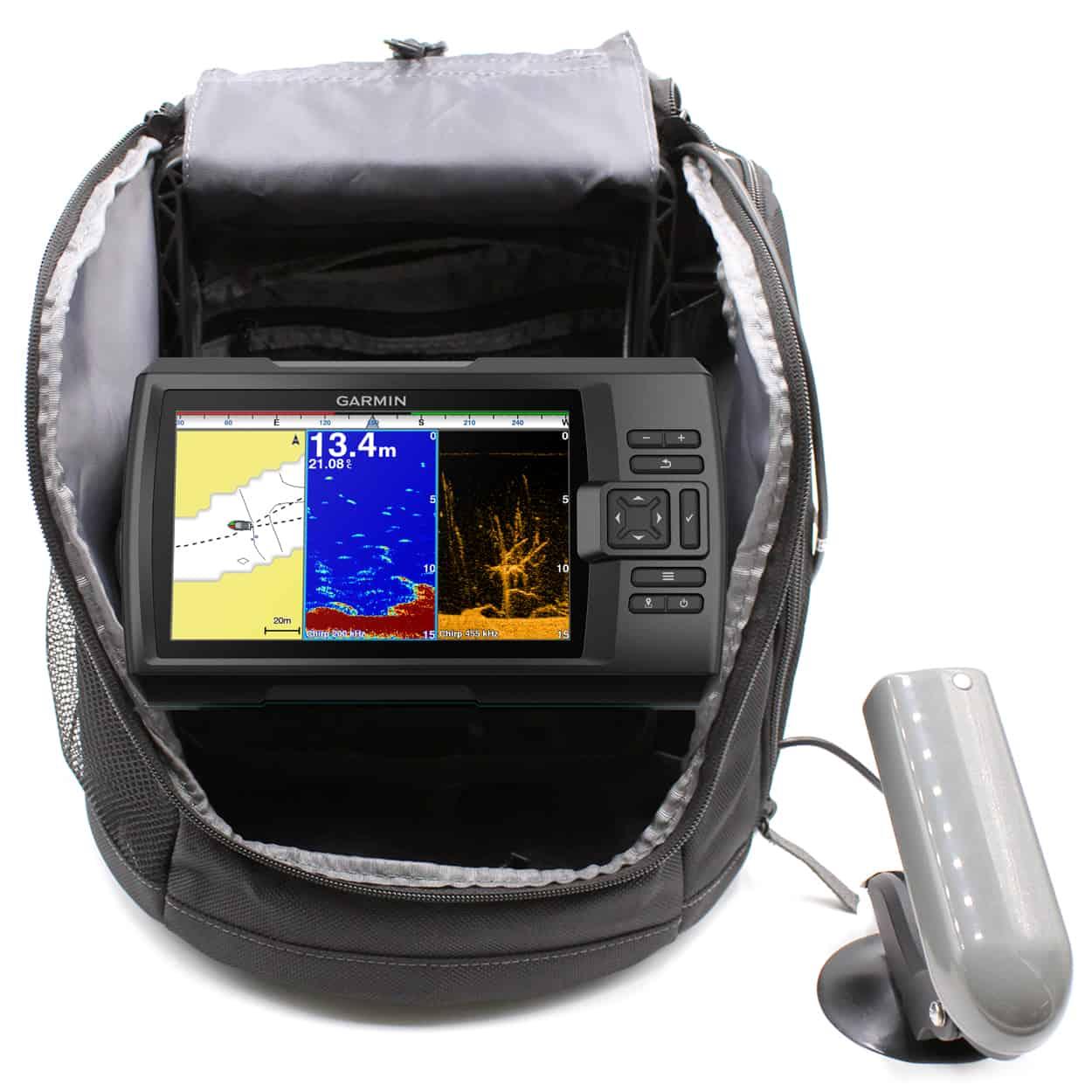 Striker plus 7sv portable fishfinder bundle outdoor for Garmin panoptix ice fishing