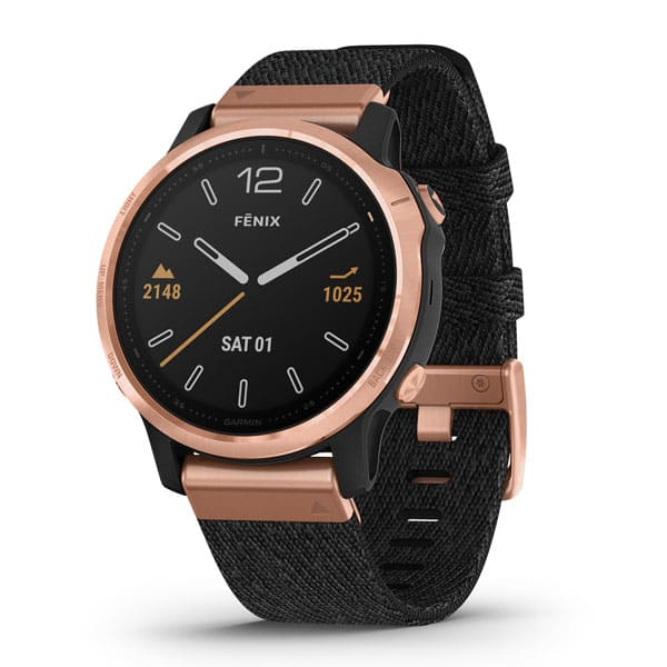 fēnix® 6S Sapphire, Rose Gold-tone with Heathered Black Nylon Band