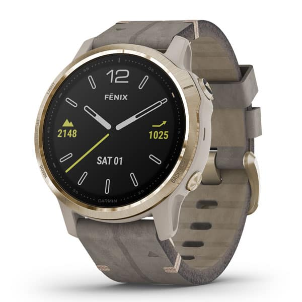 fēnix® 6S Sapphire, Light Gold-tone with Shale Gray Leather Band