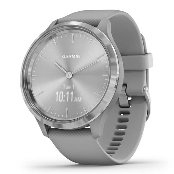vivomove 3 – Silver – Silver Stainless Steel Bezel with Powder Gray Case & Silicone Band