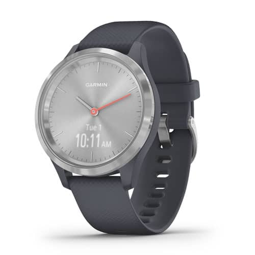 vivomove 3S – Silver Stainless Steel Bezel with Granite Blue Case and Silicone Band