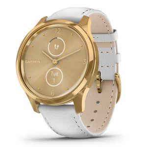 vivomove® Luxe 24K Gold PVD Stainless Steel Case with White Italian Leather Band