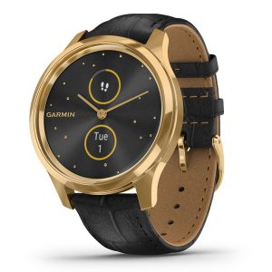 vivomove® Luxe 24K Gold PVD Stainless Steel Case with Black Embossed Italian Leather Band