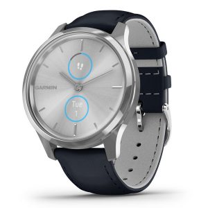 vivomove® Luxe Silver Stainless Steel Case with Navy Italian Leather Band