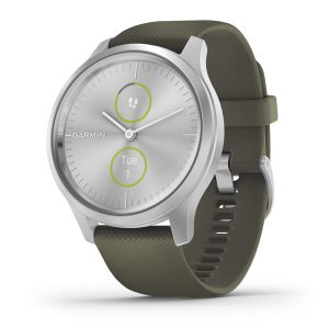vivomove® Style – Silver Aluminum Case with Moss Silicone Band
