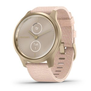 vivomove® Style – Light Gold Aluminum Case with Blush Pink Woven Nylon Band