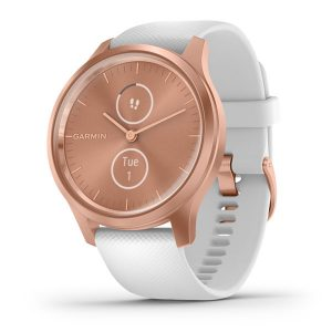 vivomove® Style – Rose Gold Aluminum Case with White Silicone Band